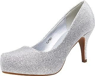 Women's Low Heel Pumps Front Inner Waterproofing Platform Round Toe Mid Heel Classic Dress Shoes for Women