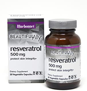 Bluebonnet Nutrition Beautiful Ally Resveratrol 500 mg Vegetarian Casules, 30 count