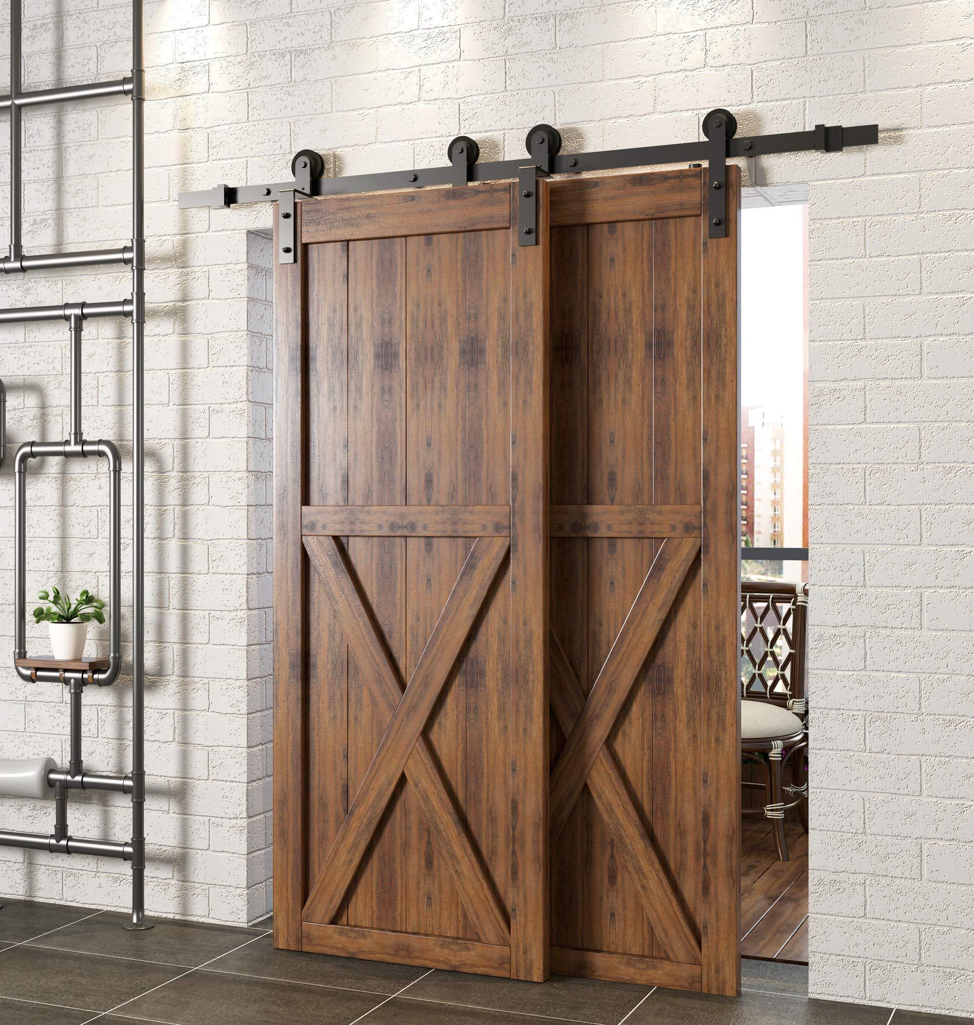 Homacer kit de puerta corredera de granero de doble puerta, 4 pies ...