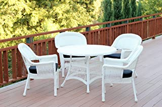 Jeco 5 Piece Wicker Dining Set with with Black Cushions, White