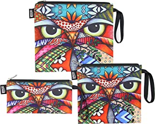 QOGiR Reusable Snack Bags Sandwich Lunch Bags with Handle(3 Pack) - Dishwasher Safe, BPA-free, Lead-free, Pvc-free (Owl)