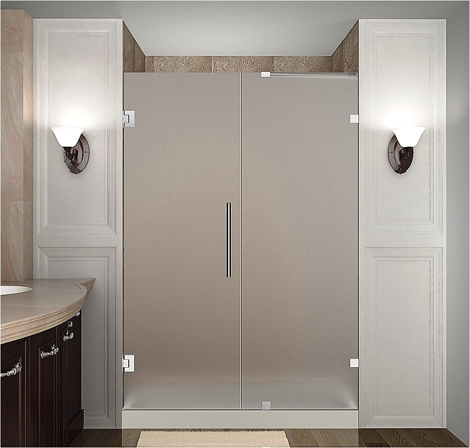 Aston Nautis Completely Frameless Hinged Shower Door In Frosted Glass 40 X 72 Brushed Stainless Steel Amazon Com