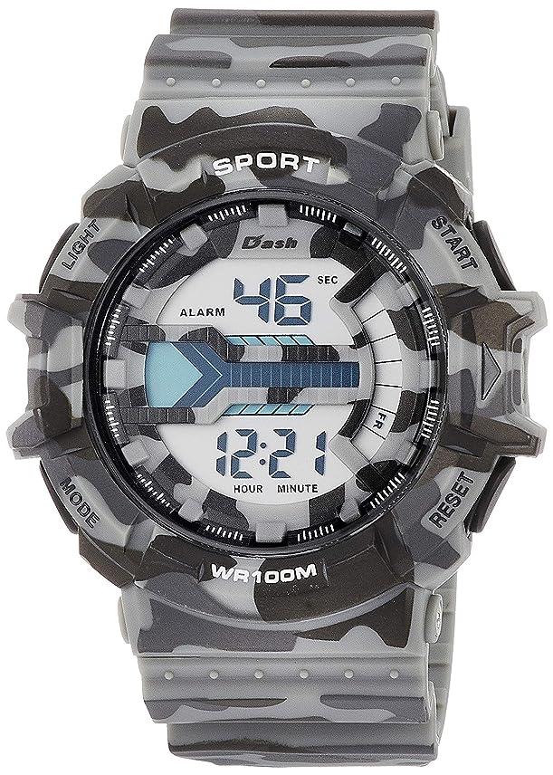 モトリーピケ発送[アリアス]ALIAS 腕時計 デジタル DASHミリタリー 10気圧防水 ストップウォッチ バックライト付き 迷彩 グレー ADWW18093-02 メンズ