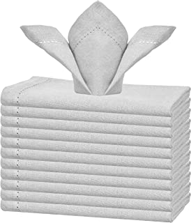 GLAMBURG Cotton Dinner Napkins Set of 12, Cloth Dinner Napkins 18x18, Soft and Comfortable Cocktail Napkins, Wedding Dinner Napkins with Mitered Corners and Hemstitched - Light Grey