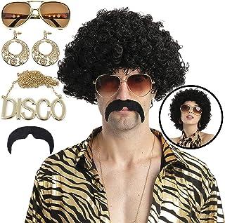 Peluca afro de Halloween para disfraz de discoteca hippie con peluca negra afro, collar, gafas, pendientes y bigote para f...