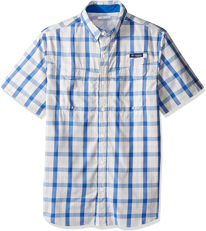 Columbia Men's Super Low Drag Short Sleeve Shirt, Vivid blueee Check, Small