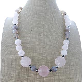 Collana con quarzo rosa naturale ed agata grigia, girocollo con pietre dure, collier donna, gioielli matrimonio, gioielli ...