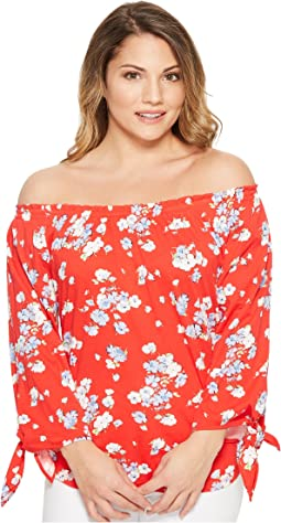 LAUREN Ralph Lauren Petite Floral Jersey Off the Shoulder Top