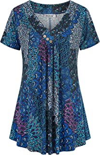 Ninedaily Women's Tunic Summer Short Sleeve Top Loose V Neck Dressy Shirt Blouse