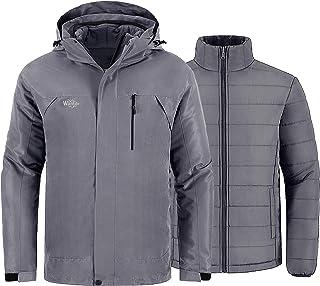 Wantdo Men`s Waterproof 3 in 1 Ski Jacket Warm Winter Coat Windproof Snowboarding Jackets with Detachable Puffer Coat