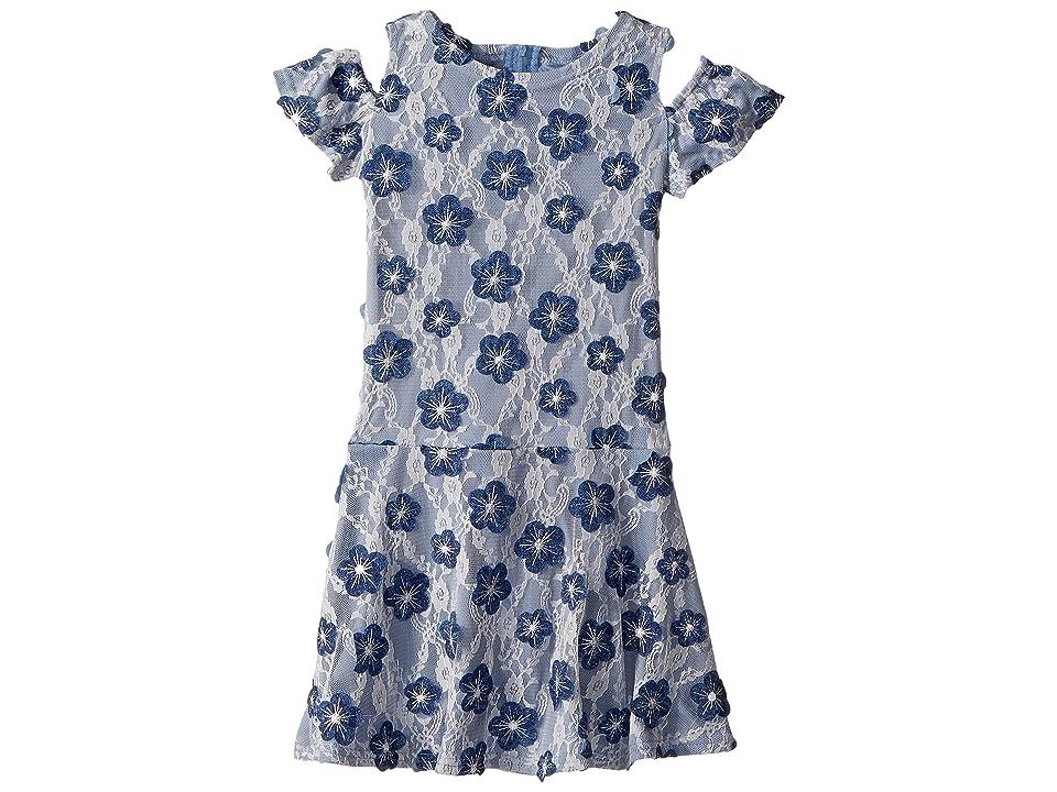 Us Angels Soutache Cold Shoulder Lace Dress (Little Kids) (Denim) Girl
