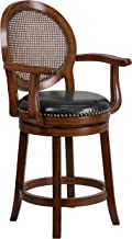 Flash Furniture 26'' High Expresso Wood Counter Height Stool with Arms, Woven Rattan Back and Black Leather Swivel Seat