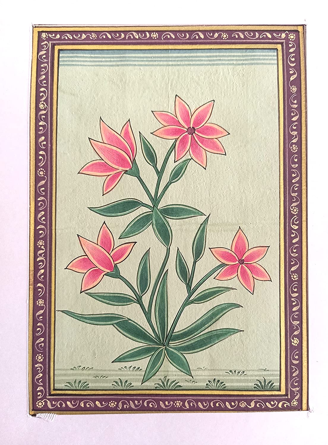 Indian Animer and price revision Flower Handmade Miniature Painting Same day shipping Artwork Pape Floral On