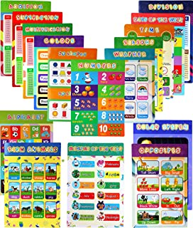 Educational Preschool Poster-16 Pieces Colorful and Easy to Read Educational Posters with Glue Point Dot Learning Decor fo...