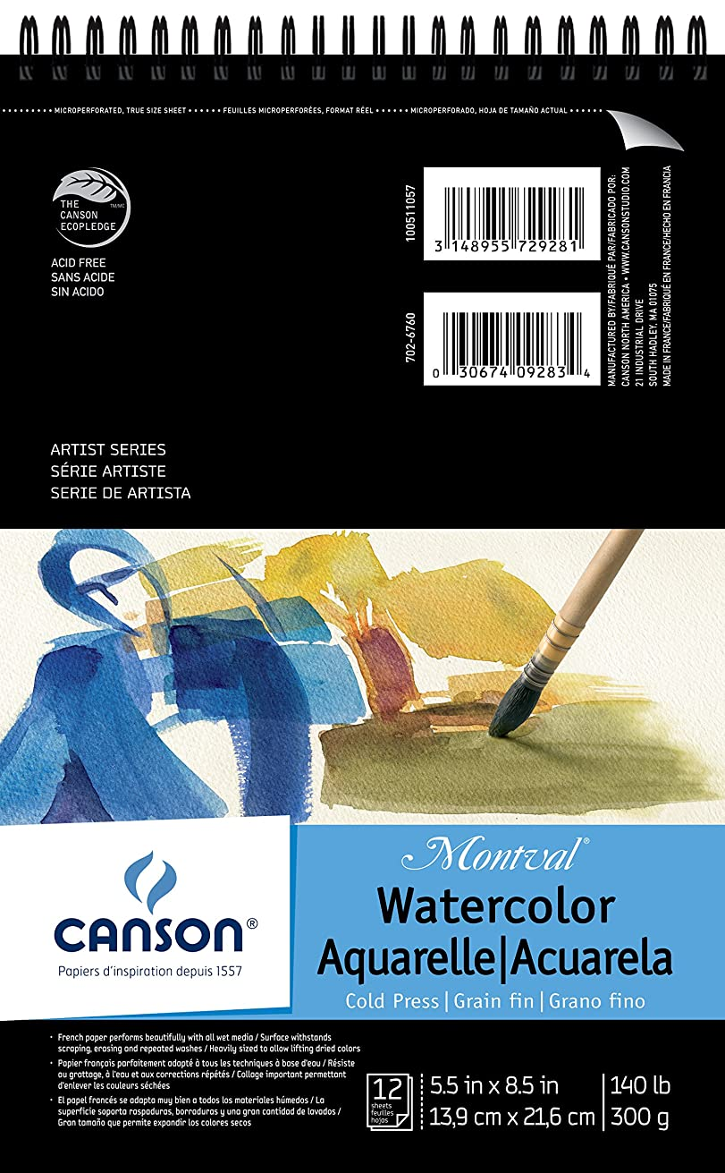 Canson Montval Watercolor Pad, Cold Press Acid Free French Paper, Top Wire Bound, 140 Pound, 5.5 x 8.5 Inch, 12 Sheets