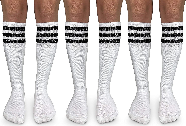 Jefferies Socks Womens Stripe Vintage Knee High Tube Socks 3 Pair Pack