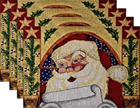 Christmas Themed Winter Placemat Set Woven Tapestry Designs Holiday Placemats (Jolly Ol' St. Nick Set of 4)