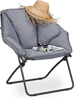 Relaxdays, Gris, Silla Camping Plegable Moon Chair XXL, Acero y PVC, 87 x 85 x 70 cm