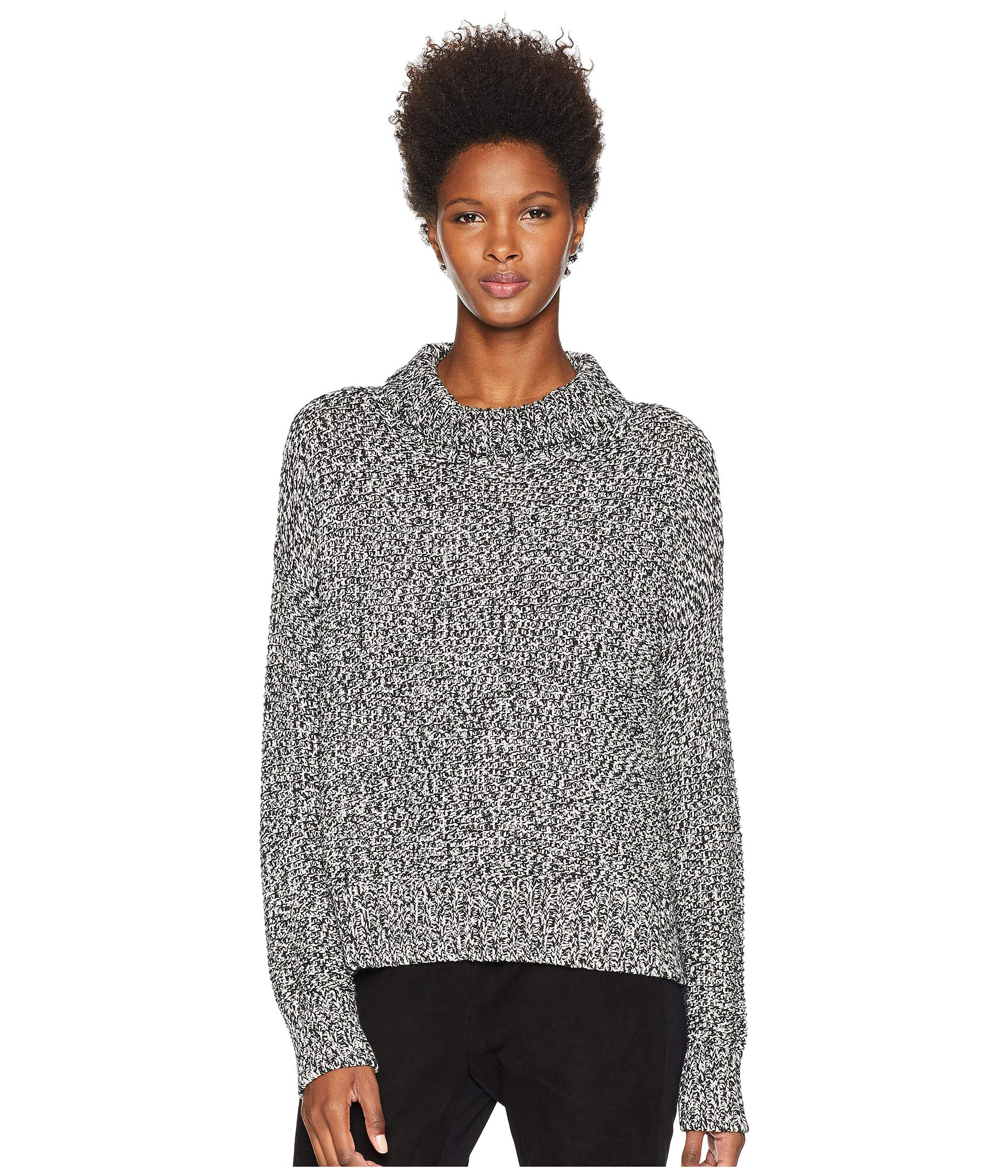 Neck Eileen Cashmere Funnel amp; soft White Cozy Box Organic Black Cotton top Fisher OO0aF