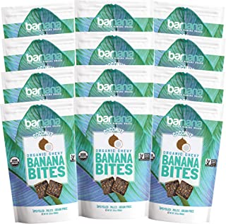 Barnana Organic Chewy Banana Bites - Coconut - 3.5 Ounce, 12 Pack Bites - Delicious Potassium Rich Banana Snacks - Lunch Dinner Sports Hiking Natural Snack - Whole 30, Paleo, Vegan