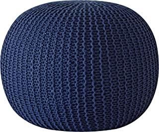 Urban Shop Round Knit Pouf - Hand Woven Cotton, Navy