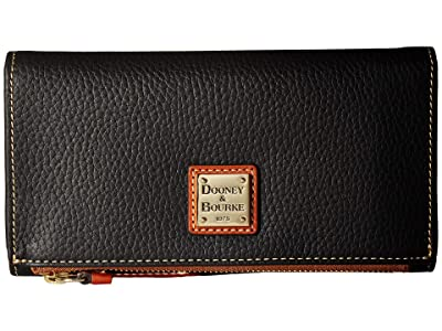 Dooney & Bourke Pebble Fold-Over Wallet (Black/Tan Trim) Wallet Handbags