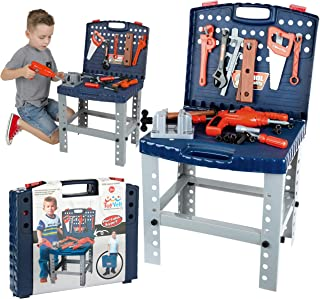 68 Piece Workbench W Realistic Tools & Electric Drill For Construction Workshop Tool..