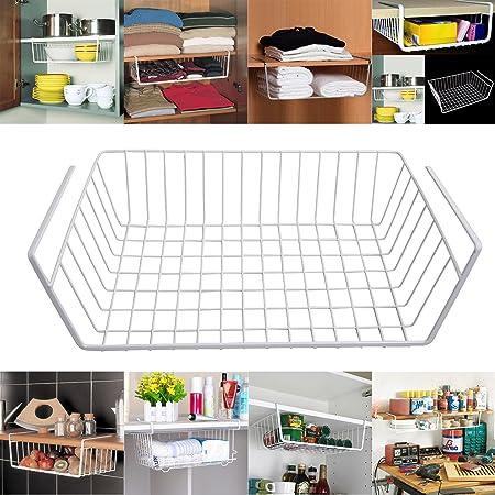 Livzing Compact Under Shelf Storage Basket Wire Rack Extra Cabinet Holder Almirah Cupboard Shelves Easily Slide Hanger For Kitchen Bathroom Pantry Hanging Organizer White Amazon In Home Kitchen