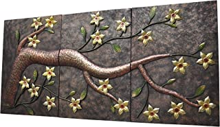 YL Crafts - Elegant Metal Back Anaglyph Yellow Flower Tree Hand-made Relief Wall Sculpture 3pcs/set, Metal Wall Art Decor Set for Indoor and Outdoor Settings