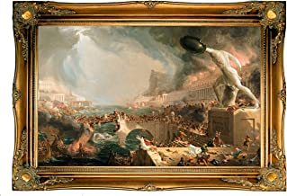 Historic Art Gallery c1017-cole0009-19x30-cmfr512t90 HistoricArtGallery-The Course of Empire-Destruction 1836 by Thomas Cole Framed Canvas Print-Ornate Gold Gallery-19x30, 19
