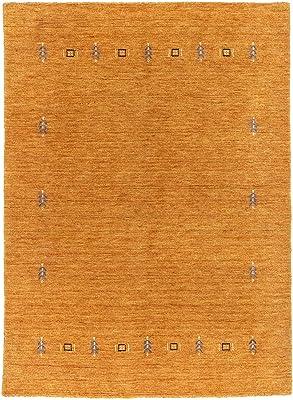 Morgenland Handgewebt Orange Teppich Minimal Muster Einzigartig Design, 197 x 142 cm