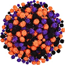600 Pieces Halloween Pom Poms Assorted Glitter Pom Poms Fluffy Balls for Halloween DIY Crafts Party Decorations, 3 Colors