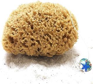 Esponja Natural con cordel & colgante de cristal – Esponja de baño del mar Mediterráneo – Sin blanquear – Primera Calidad (13-14 cm)