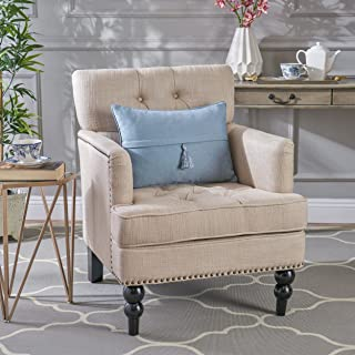 Christopher Knight Home Tufted Club, Decorative Accent Chair with Studded Details-Beige, Grey