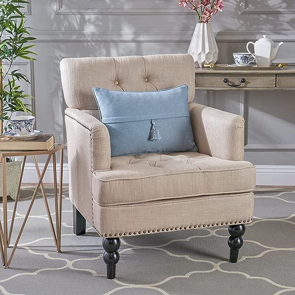 Christopher Knight 家 237355 簇绒俱乐部装饰口音椅子镶嵌细节米色灰色