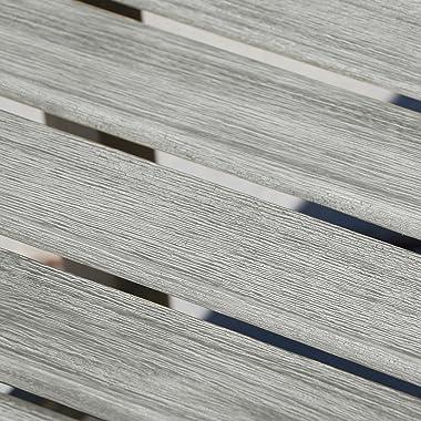 Vifah V1299 Coronado Grey-Washed 5Ft X-Back Acacia Weathered-Wood Bench for 3 Seater in Entry Way, Porch, Balcony, Deck, Gard