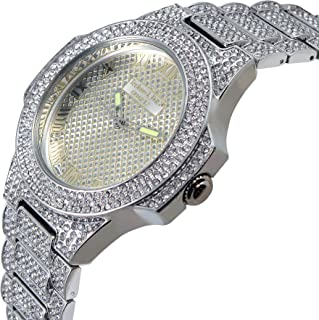 Techno KING Men's Iced Out Hip Hop Metal Band Watch (GM1808-SL)