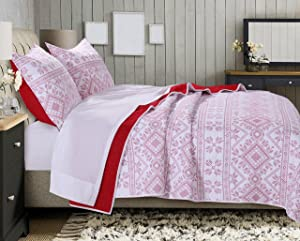 Greenland Home Holly Quilt Set with Cross Stitching, White (2 Piece), Twin