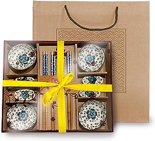مجموعة أدوات المائدة الآسيوية المصنوعة من البورسلين - أدوات مائدة السوشي الآسيوية - مجموعة السوشي الصينية المرسومة يدويًا...