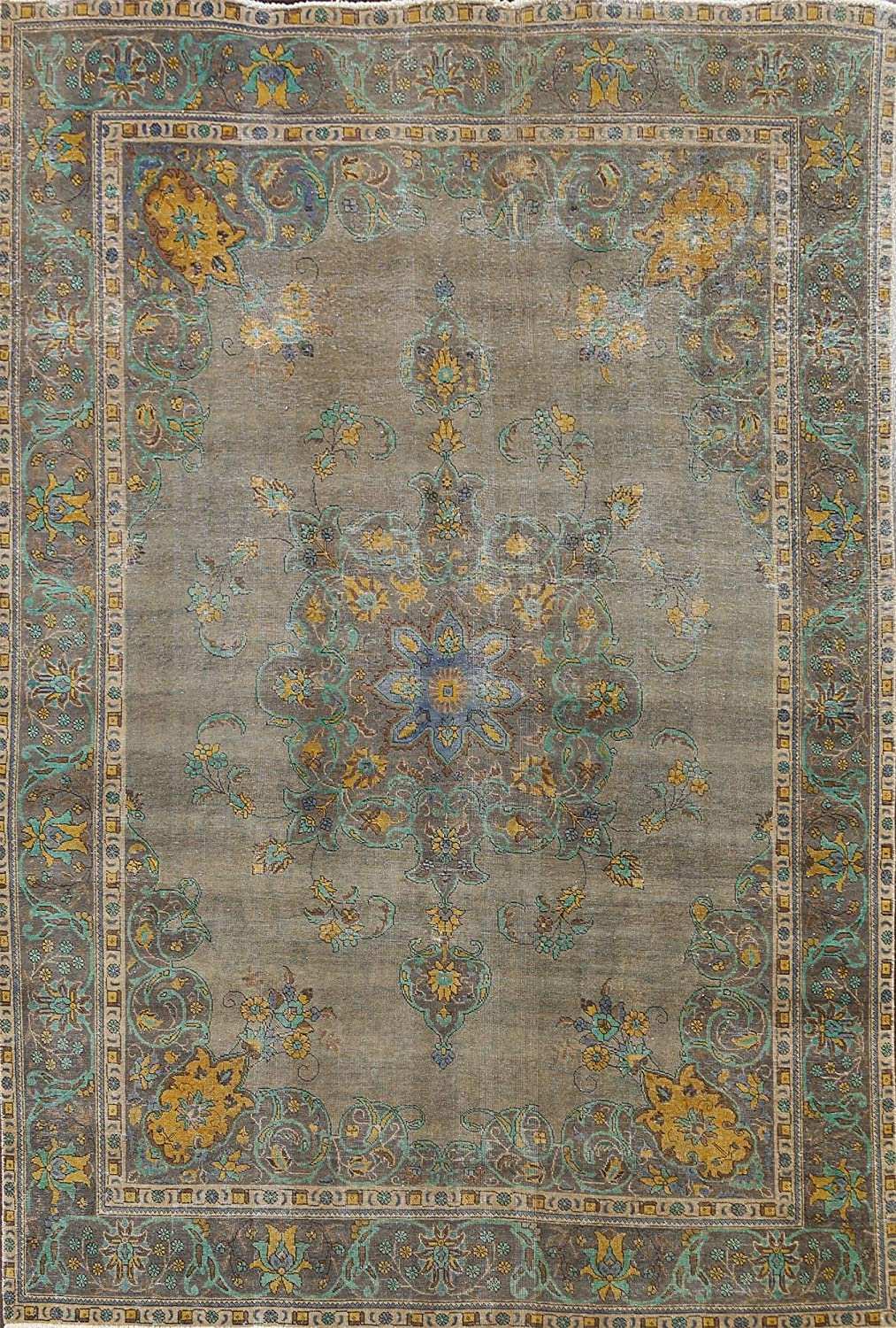 Floral Brown Tebriz New Orleans Mall Oriental Area Wool Hand-Knotted Rug Brand Cheap Sale Venue 8 Carpet