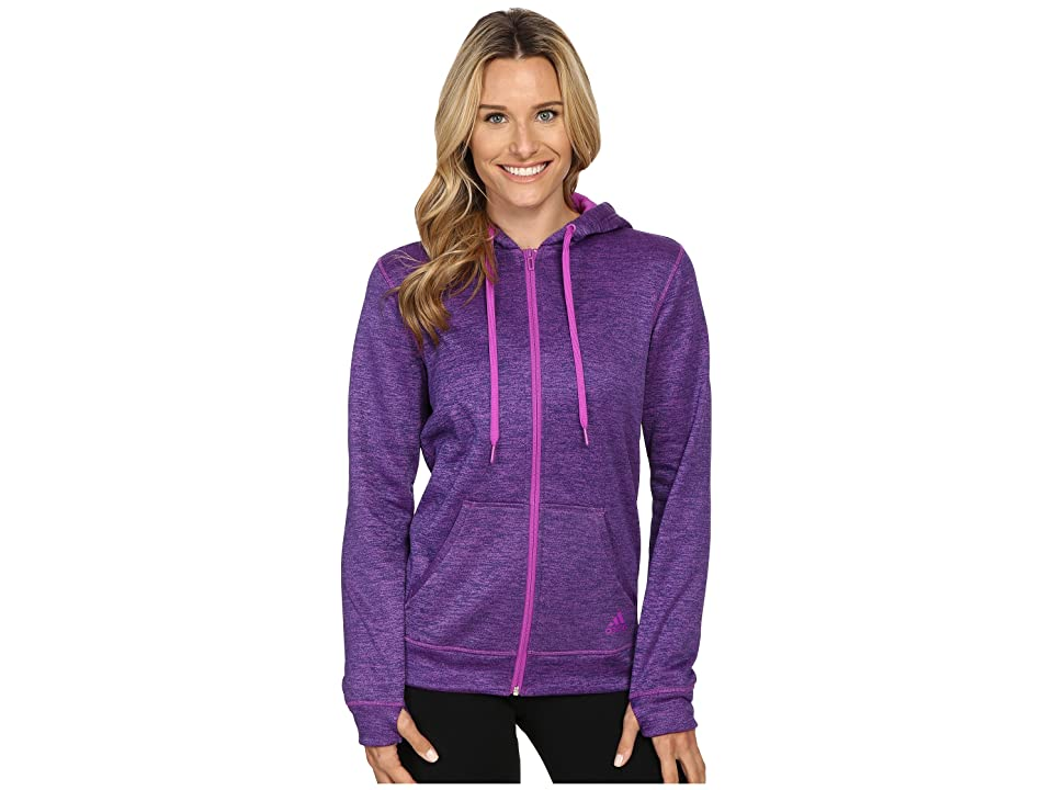 adidas Team Issue Fleece Full-Zip Hoodie (Shock Purple Heather) Women