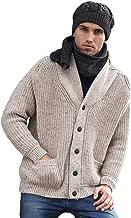 West End Knitwear Two Tone Ribbed Merino Wool Shawl Collar Cardigan Sweater