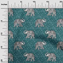 oneOone Cotton Poplin Fabric Elephant Block Printed Craft Fabric by The Meter 56 Inch Wide