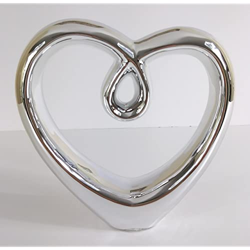 Lux Atelier SILVER CHROME CERAMIC HEART SCULPTURE DECOR ORNAMENT GIFT