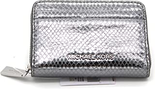 ad4dabbe06df Michael Kors Money Pieces Zip Around Card Case Embossed Leather (Lt Pewter)