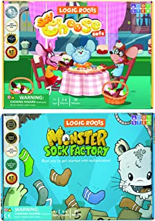 Logic Roots Multiplication and Divison Games - Pack of 2, Monster Sock Factory and Say Cheese, Math Board Games & STEM Toy...