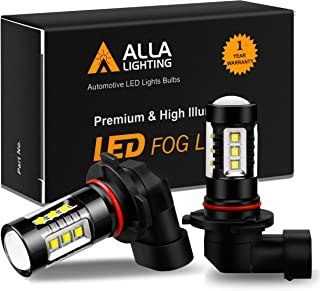 Alla Lighting 3200 Lumens 9145 H10 LED Fog Light Bulbs Extreme Super Bright H10 9145 LED Bulb High Power 80W Cree 12V LED 9145 CANBUS Bulbs 9140 H10 9145 Fog Light Bulbs Replacement, 6000K Xenon White