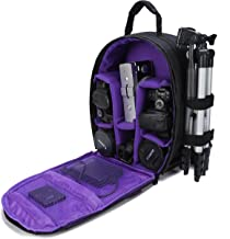 G-raphy Camera Bag Camera Backpack with Rain Cover for DSLR Cameras, Lens, Tripod and Accessories (Purple, Small)