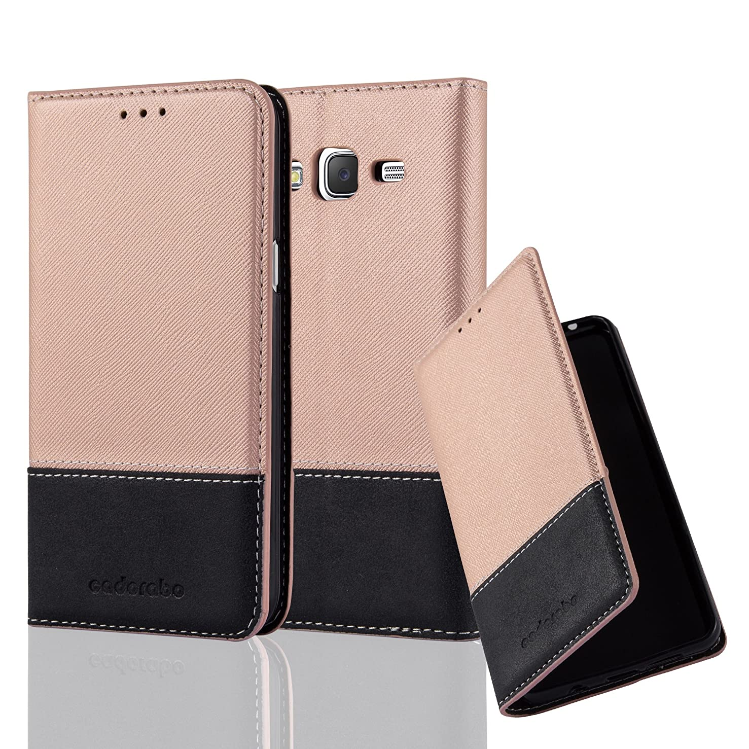 Cadorabo Book Case Works with Samsung Galaxy J5 2015 in Rose Gold Black – with Magnetic Closure, Stand Function and Card Slot – Wallet Etui Cover Pouch PU Leather Flip