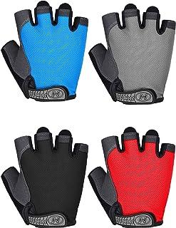 SATINIOR 4 Pairs Sports Cycling Gloves Half Finger Bicycle Gloves Fingerless Bike Gloves for Men Women Summer Outdoor Spor...